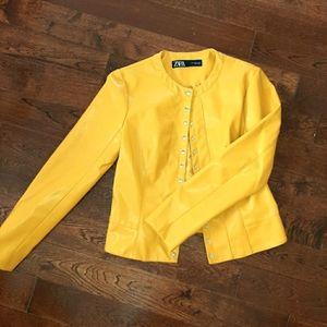 Nwot zara mustard yellow vegan leather jacket